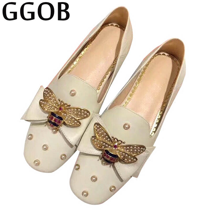 GGOB 2018 Flat shoes Casual Fashion Handmade Woman Brand Walking Super Light Genuine Leather High quality fabric Hasp New
