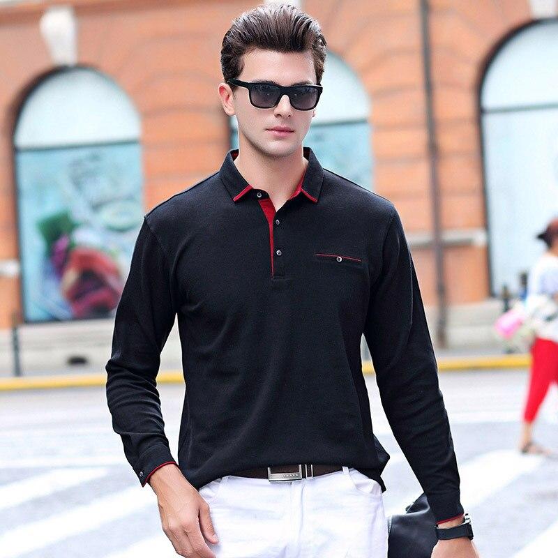 Hot sale new arrival autumn winter solid long sleeve   polo   shirt men cotton turn-down collor homme camisa plus size XXXL 17887
