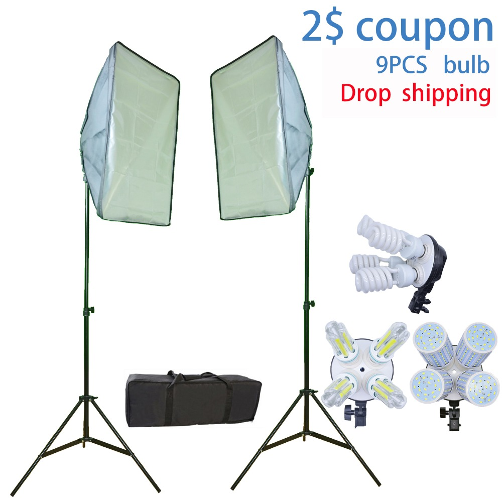 9 Bulbs Photo Studio Kit Photographic Continuous Lighting Softbox Kit 2 light stand 2 softbox for
