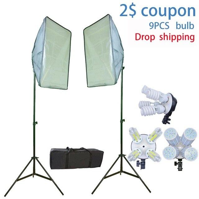 9 Bulbs Photo Studio Kit Photographic Continuous Lighting Softbox Kit 2 light stand 2 softbox for Photo Video Studio Shooting