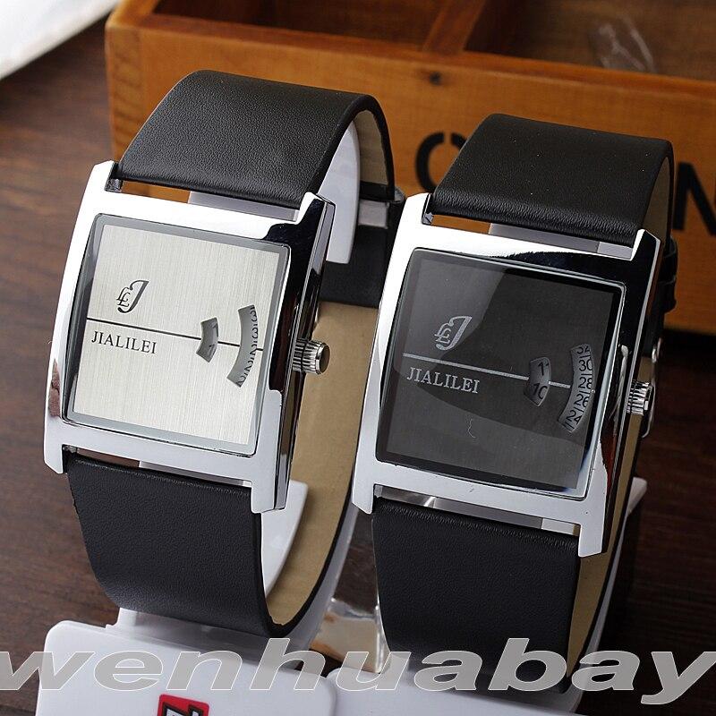 Paidu Unique Fashion Truntable Square Dial Design Leather Band Men Women Quartz Wrist Watch Dress Hours