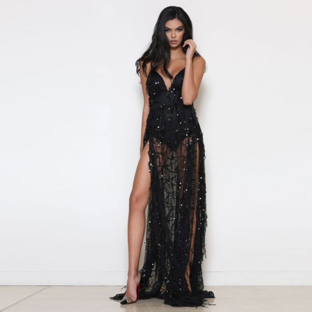 2017 Women maxi dress Black long boho Sequin dresses V neck sequins tassel  slit vestidos Sexy party robe hot sale clothing 85fe2d6bd7b5