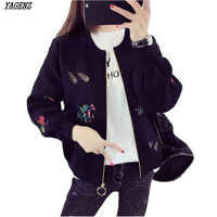 YAGENZ Embroidered Knit Cardigan Sweater Short Coat Women 2017 New Spring Summer Students Sweater Jacket Loose Women Casual Tops
