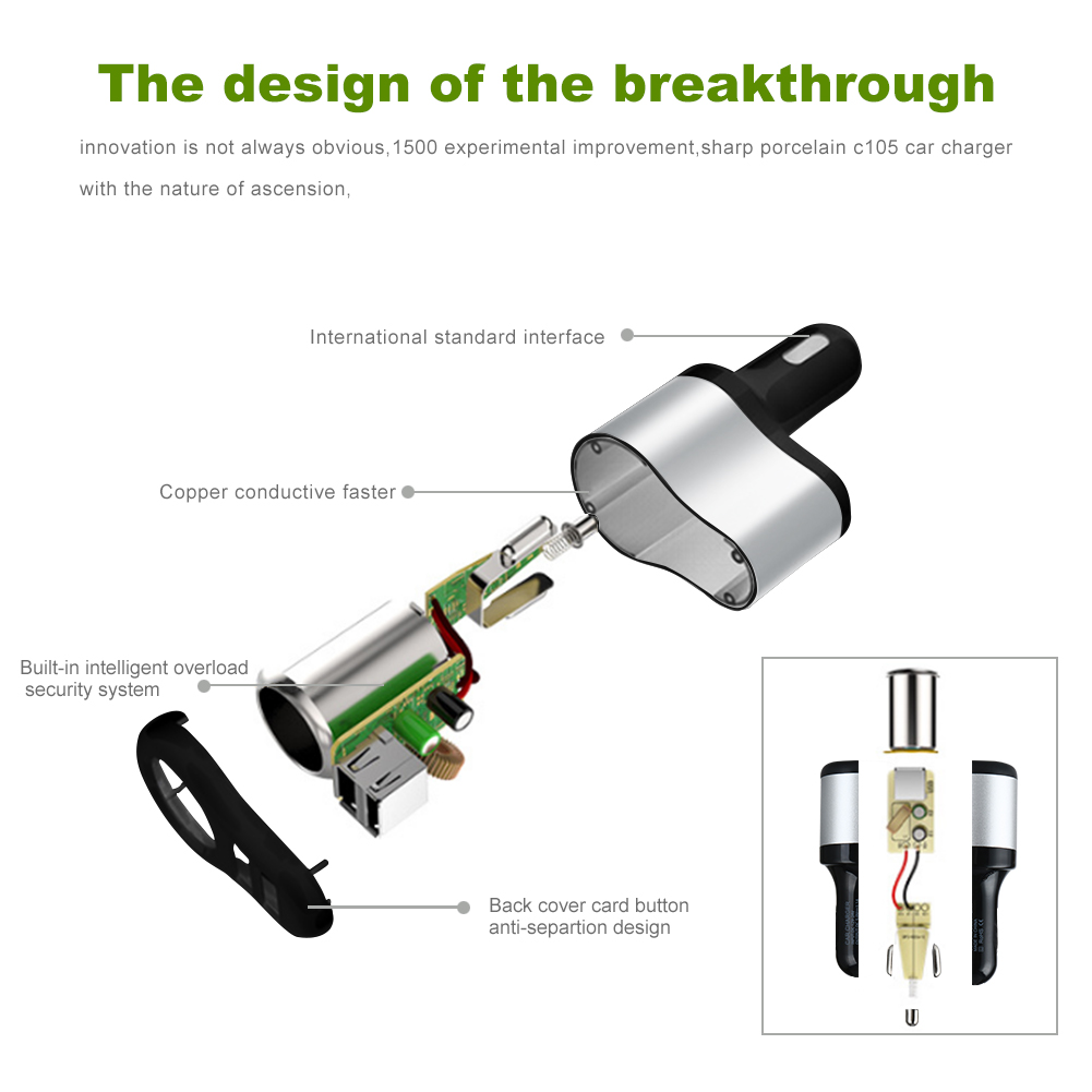 Universal Car Cigarette Lighter With 2 Usb Phone Charger Adapter Wiring Schematic 1 X Separator User Manual Warranty Card Package Bag