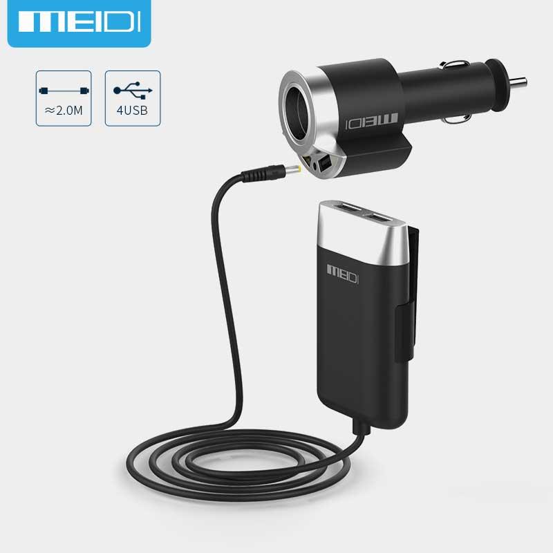imágenes para MEIDI 5 Puertos USB Cargador de Coche y Adaptador para Encendedor de Cigarrillos con 2 M Cable para Teléfono Móvil para Unviersal Coche MPV portátil