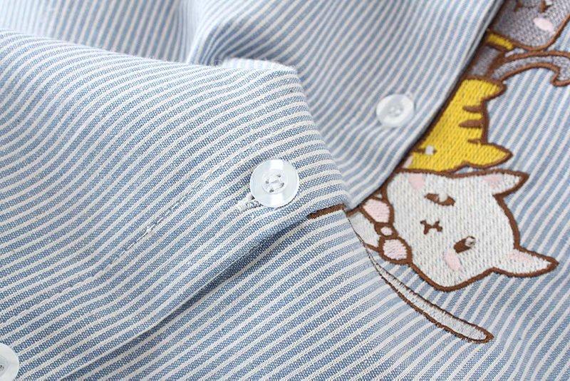 blusa feminina 2018 listrado gato bordado camisa