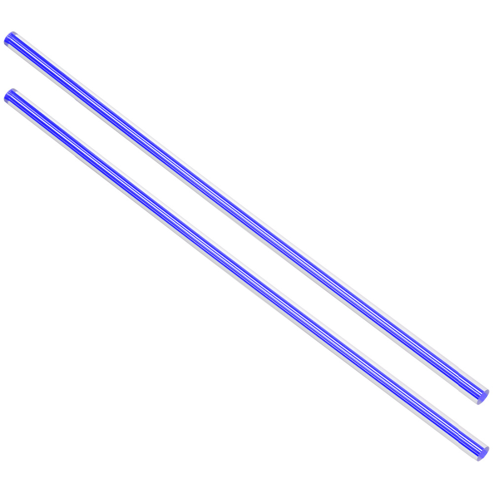 Uxcell New Hot 2pcs 6mm Dia 250mm Length Straight/Spiral Line Dark Blue/Light Blue Solid Acrylic Plexiglass Round Rod PMMA Bar