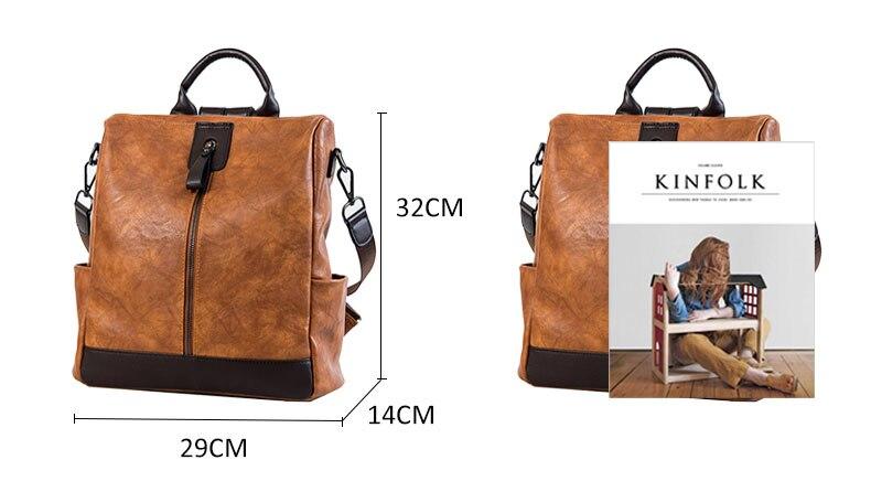 HTB1CFghbdzvK1RkSnfoq6zMwVXas Fashion Women High Quality Leather Backpack Multifunction Leatherett Backpack For Female Big Bookbag Travel Bag Sac A Dos XA279H