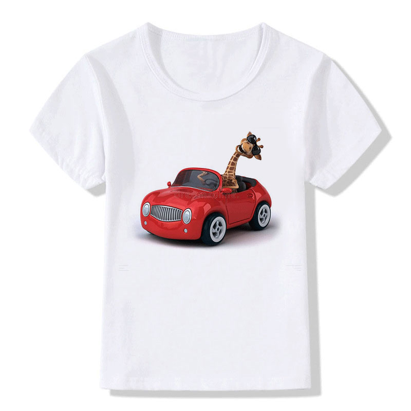 New Summer Tops Children Tees Cartoon Funny Giraffe Drives The Car 3D Print Baby T-Shirts Girls/Boys T Shirt Casual Kids Clothes