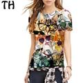2016 Elastic Animal Print T Shirt Women Harajuku Cat Emoji Top Tee Shirt Femme Poleras De Mujer Camisetas