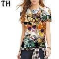 2016 elástico animal print mujeres de la camiseta harajuku cat emoji top tee shirt femme poleras de mujer camisetas