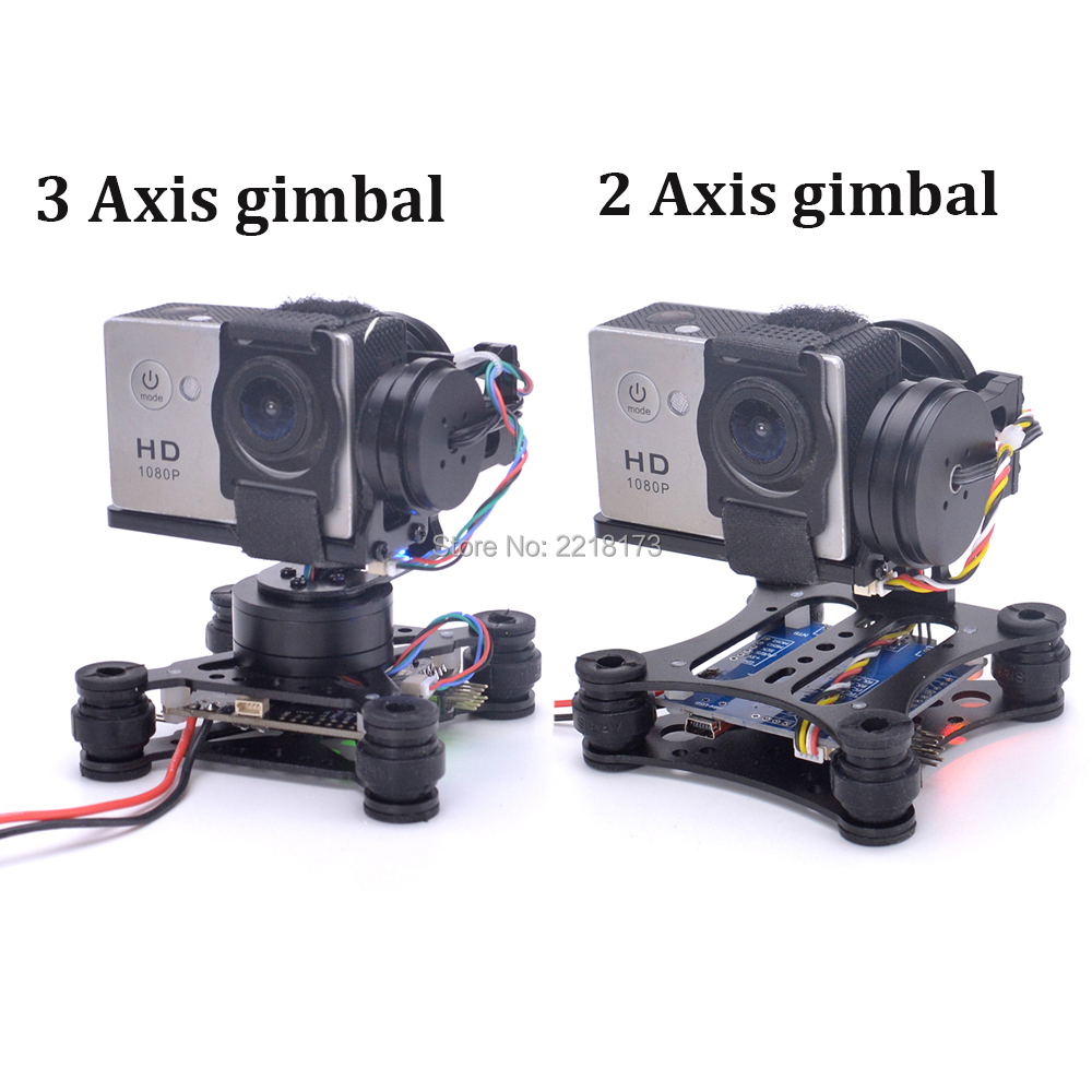 2 Axis / 3 Axis Brushless Gimbal Board for SJ4000 Gopro3 4 Gopro Hero 5 6 session Runcam 3 Eken H9 Camera RC Drones gopro3 lightweight 2 axis brushless gimbal board with sensor free debug for fpv airplane rc quadcopter frame racing drones