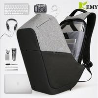 KEMY 2018 Fashion USB Charging Anti theft Backpack Men 15.6inch Laptop Bag Backpack Waterproof Male Backpacks Montmartre Mochila