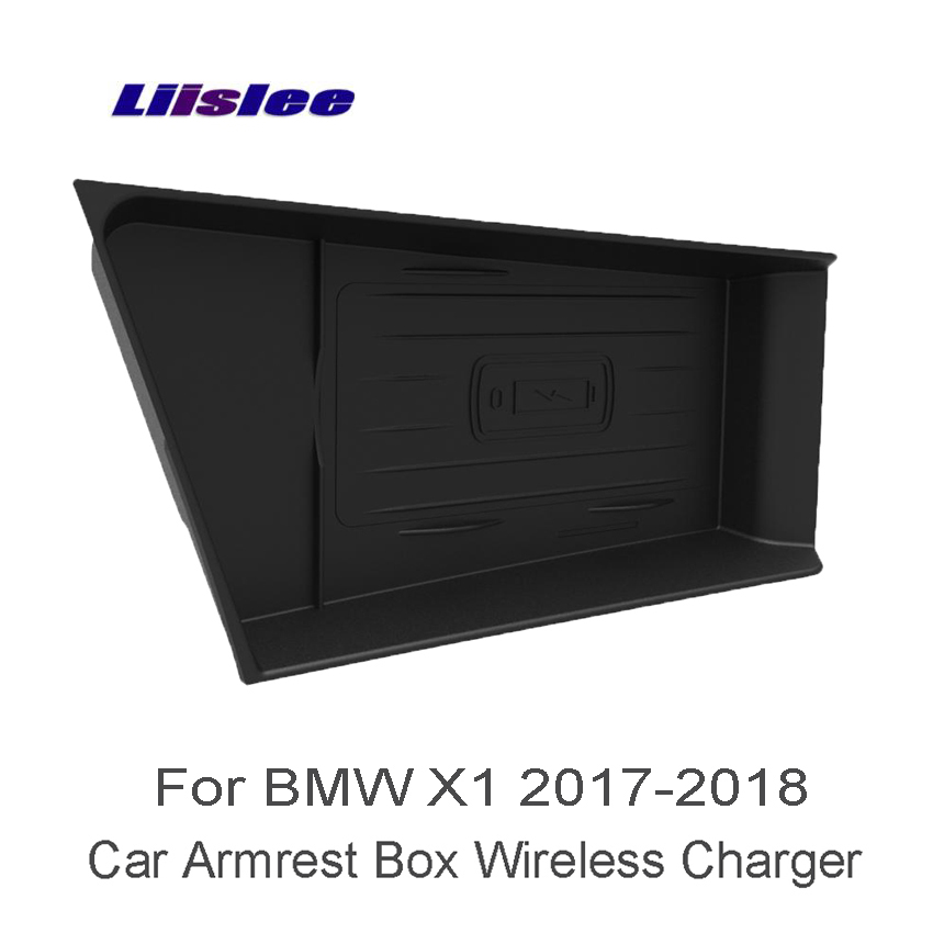 Liislee Car Quick Charge Fast Mobile Phone Wireless Charger Car Handrails Box Car Armrest Box For BMW X1 F48 17-18 Car Charger tronsmart ts cc2pc quick charge 2 0 two port car charger for galaxy s6