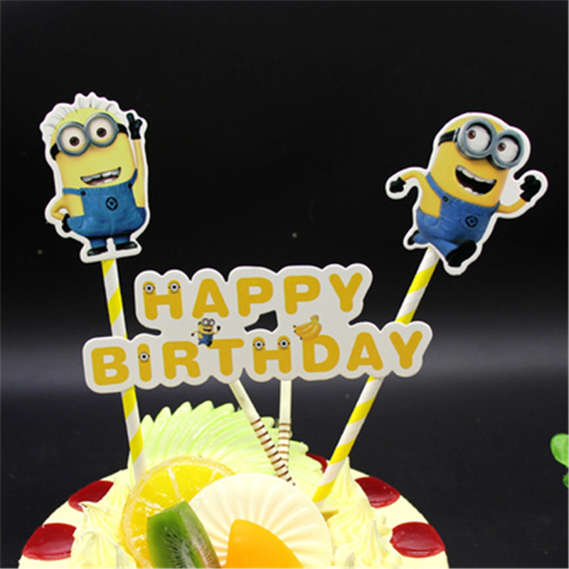 Baby Boy 1st Birthday Gifts Minion Cake Topper Decoration Toys For Boys Kids Children Cupcake Toppers In Decorating Supplies