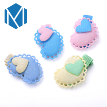 M MISM 1 Pair=2Pcs Lovely Children Girl Hairpins Headwear Cute Two Colors Double Heart Candy Color Hair Clip Accessories