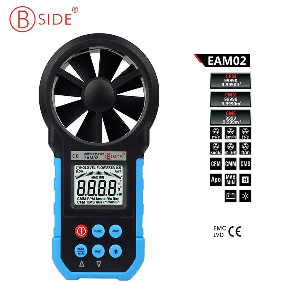 BSIDE EAM02 anémomètre numérique vitesse de l'air/Volume/vitesse du vent/testeur de jauge de compteur de zone avec rétro-éclairage LCD