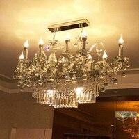 Клуб идея привела кристалл освещение роскошный прямоугольная хрустальная люстра современный большой зал отель Вилла столовая светодиодны