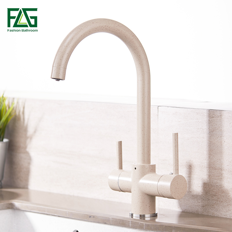 FLG Kitchen Faucet with Filtered Water 3 Way Drinking Water Cold and Hot Brass Marble Painting