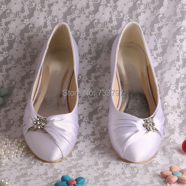 (20 Colors)Wedopus Name Brand White Satin Bride Prom Shoes Ballet Flats New Arrvial