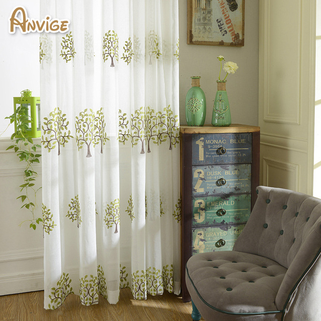 Embroidered Pastoral Tulle Curtain For Living Room Cotton Linen Sheer  Curtains Volie For Bedroom 1 Panel