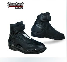 Hot sale High quality Tanked leather moto boots motorcycle boots men racing botas motocross Size 40