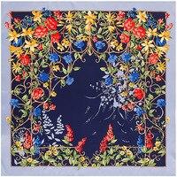แบรนด์ใหม่ผู้หญิงซาตินสแควร์ผ้าพันคอและผ้าไหมผ้าคลุมไหล่ผ้าพันคอดอกไม้ฮิญาบแฟชั่นสไตล...