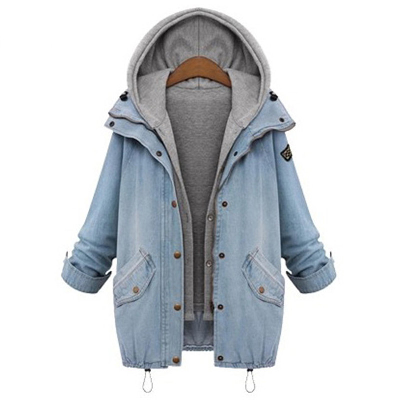FreeShipping Blue Hooded Drawstring Boyfriend Trends Jean S Pockets Two Piece Outerwear Women Long Sleeve Buttons Coat
