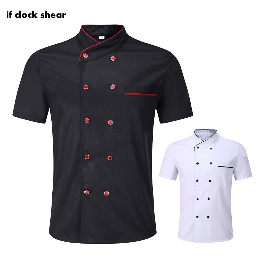 IF Restaurant Chef Uniform High Quality Catering Shirt Hotel Kitchen Double Breasted Short Sleeves Work Jackets Wholesale Unisex