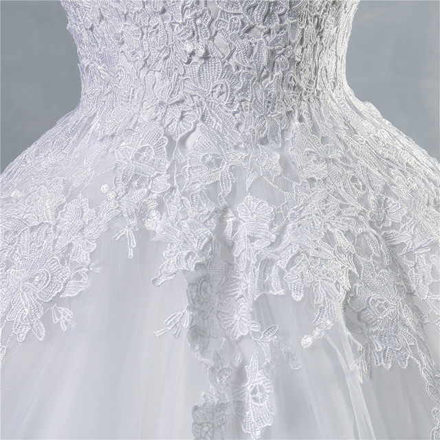 ZJ9036 lace White Ivory Gown Lace up back Croset Wedding Dresses 2019 for bride plus size maxi Customer made size 2-26W 5