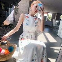 New 2019 Summer Hollow Out Lace Patchwork Boho Long Dress Women 's Sleeveless Flower Print Cotton Linen Bow Tie Belt Vest Dress