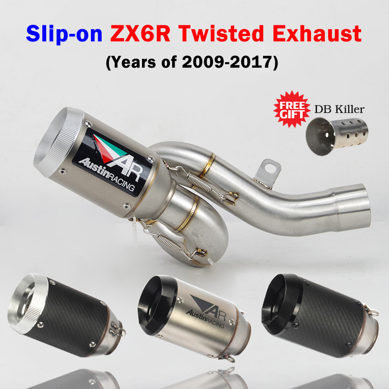 ZX6R 636 Slip-On motorcycle exhaust muffler Austin racing twisted Whirl middle link pipe with for Kawasaki ZX6R 636 2009-2017(China)
