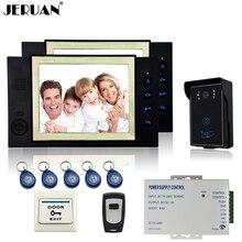 """JERUAN 8 """"LCD video de la puerta sistema de intercomunicación del timbre del teléfono de sistema de control de acceso de La Cámara de grabación de vídeo + botón de salida"""