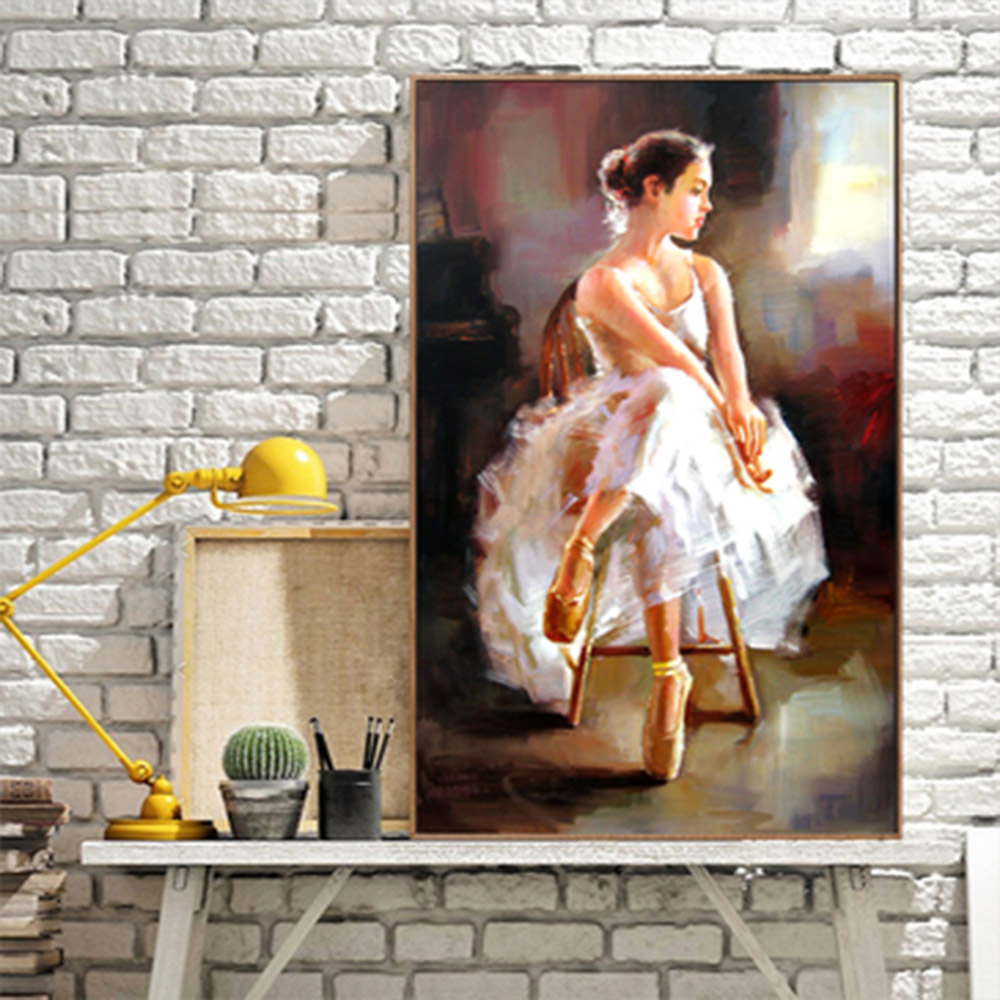 Dancing Girl Portrait Wall Art Canvas Painting Wall Pictures For Living Room Wall Art Decoration Posters And Prints in Painting Calligraphy from Home Garden
