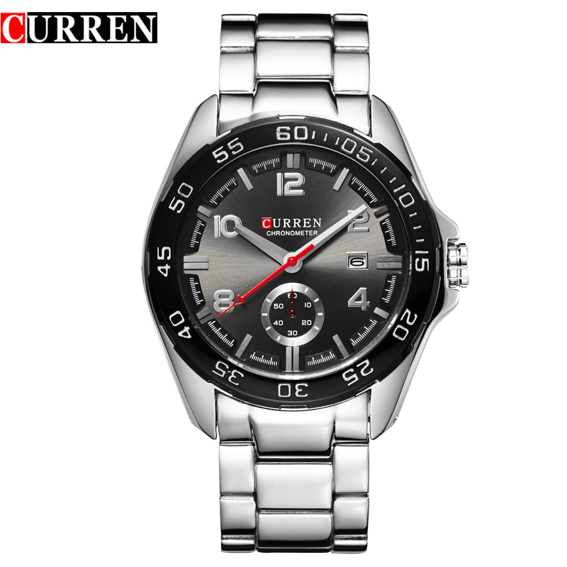 Prix pour Curren de luxe étanche hommes montres calendrier de quartz montre hommes horloge militaire bracelet en acier montres relogio masculino 8113