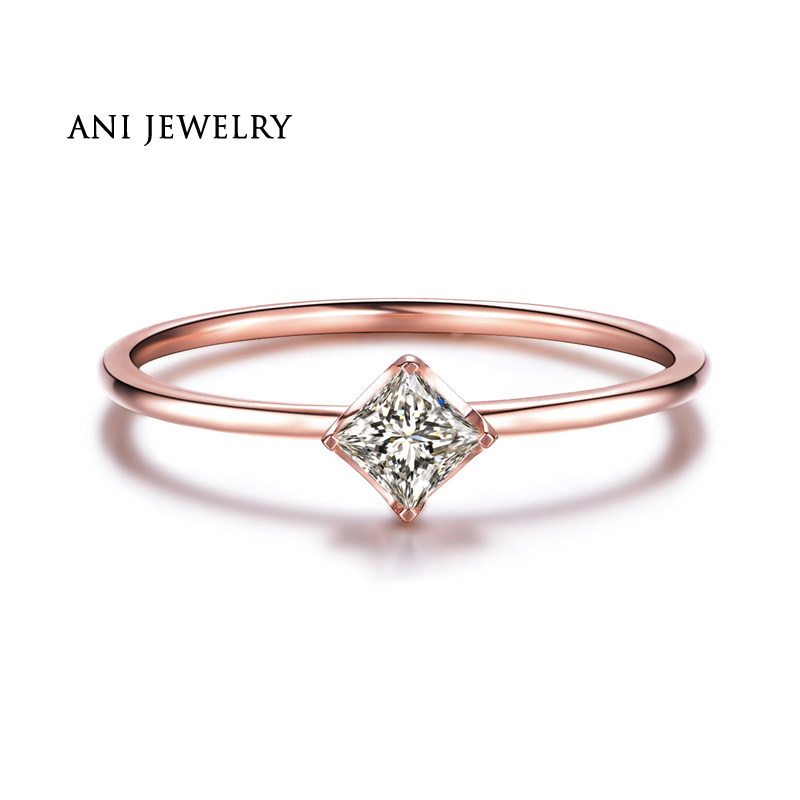 ANI 18K White/Yellow/Rose Gold (AU750) Women Wedding Ring 0.1 CT H/SI Certified Natural Princess Cut Diamond Engagement Ring new pure au750 rose gold love ring lucky cute letter ring 1 13 1 23g hot sale