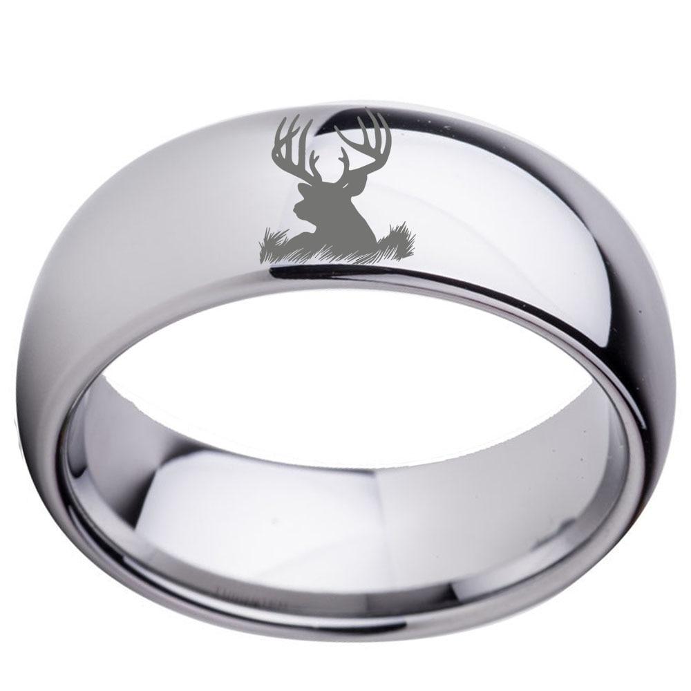 Toptan Gümüş Ton Dome Cilalı Erkek Tungsten Karbür Düğün Band Yüzük ile Geyik Kafası Kazınmış Boyutu 7-13