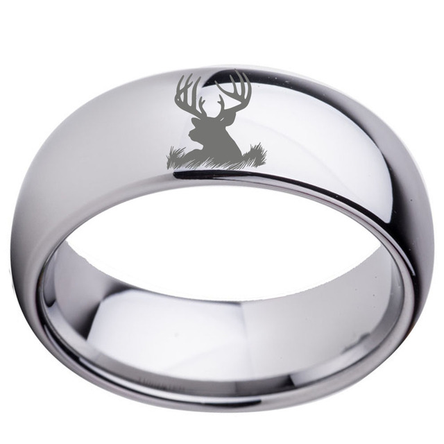 Whole Silver Tone Dome Polished Mens Tungsten Carbide Wedding Band Ring With Deer Head Engraved Size