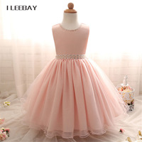 Baby Girls Evening Dress Kids Sequins Lace Princess Dress With Pearl Belt Toddler Wedding Gown Clothes