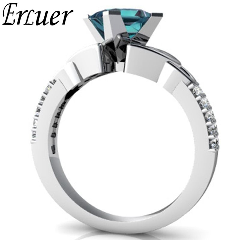 ERLUER Fashion Classic Elegant Silver color Rings For Women Lady Finger Wedding Square Crystal Zircon Trendy Love Gift Ring