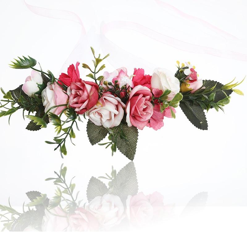f1e544a87e5 AWAYTR Bride Bohemian Flower Headband Party Floral Crown Headwear for Women  Floral Garlands Adjustable Wedding Hair Wreaths-in Women s Hair Accessories  from ...