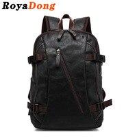 RoyaDong 2019 Backpack Men PU Leather Fashion Vintage Travel Men Bag for Teenagers