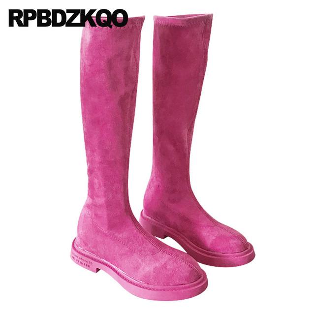 long winter slip on casual lycra slim black knee high fashion designer shoes women luxury 2018 stretch sock round toe suede pink
