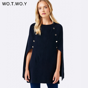 WOTWOY 2019 Knitted Cloak Sweater Women Casual Loose Shawl Autumn Winter Streetwear Poncho Women Sweater And Pullovers Plus Size 2