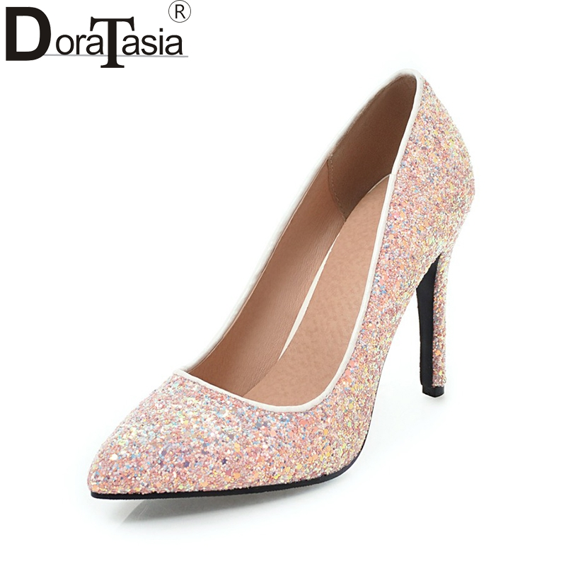DoraTasia large size 34-43 brand shoes women sexy pointed toe thin high heels bling upper party wedding bride pumps woman shoes doratasia brand new large size 33 43 fashion pointed toe thin high heels women party sexy pumps woman ceremony office lady