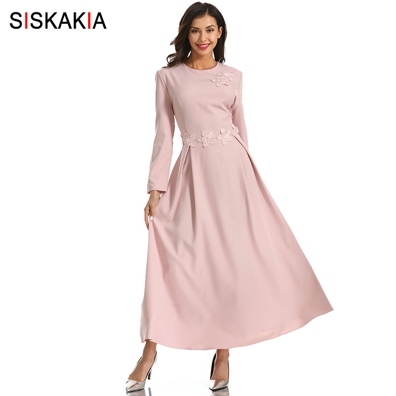 Siskakia 3D Appliques perles Design femmes longue robe mi-mollet une ligne drapée balançoire robe élégante fête porter O cou à manches longues