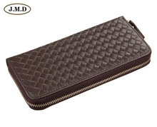 8067C  2014 November New Arrival Fashion Genuine Leather Mens Wallet purse coffee color zip closure