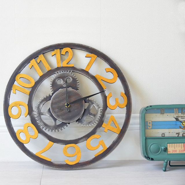 Gear Wall Clock De Parede Industry Style Hollow Out Retro Decorative Wall Watches European Art Wall Watches Living Room Clock