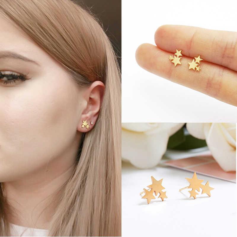 32e44ee5db45e 2019 Fashion Female Stainless Steel Golden Stud Earring Cute Mini ...