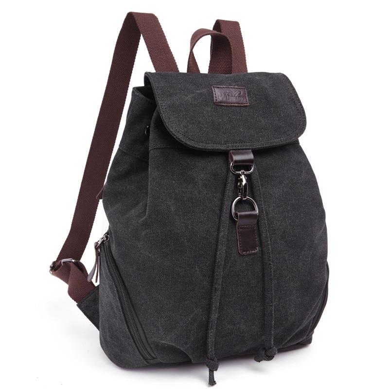 Canvas Backpack For Teenage Girls Fashion Casual Women Backpack Female Vintage Satchel Rucksack Arcuate Shoulder Strap Back Pack